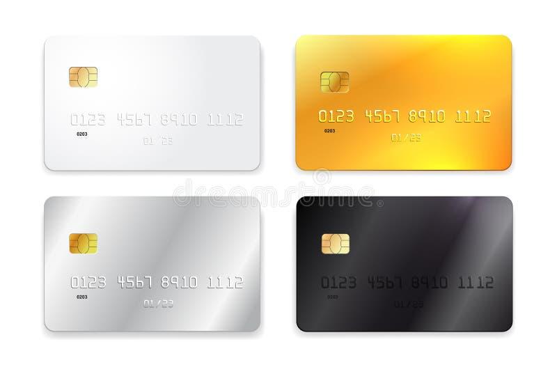 Σύνολο πιστωτικής κάρτας, άσπρου, χρυσού, ασημένιου και μαύρου ρεαλιστικού προτύπου επίσης corel σύρετε το διάνυσμα απεικόνισης η διανυσματική απεικόνιση