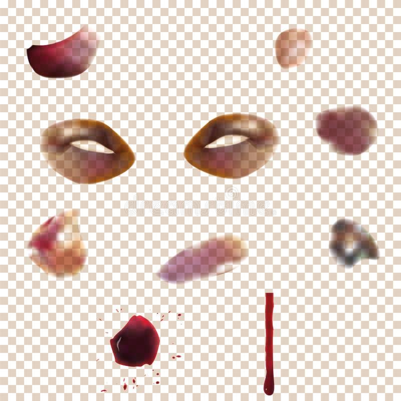 Σύνολο ποικίλου μώλωπα Χρησιμοποίηση της επίδρασης διαφάνειας σε οποιοδήποτε χρώμα υποβάθρου του δέρματος στοκ φωτογραφίες