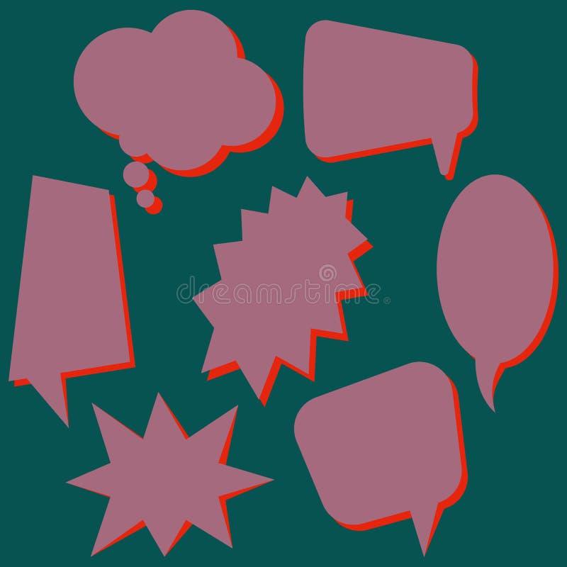Σύνολο πορφυρών λεκτικών φυσαλίδων χωρίς φράσεις στο σκούρο πράσινο υπόβαθρο ελεύθερη απεικόνιση δικαιώματος