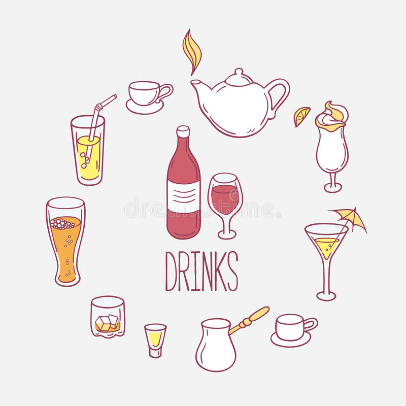 Σύνολο ποτών doodles στο διάνυσμα διανυσματική απεικόνιση