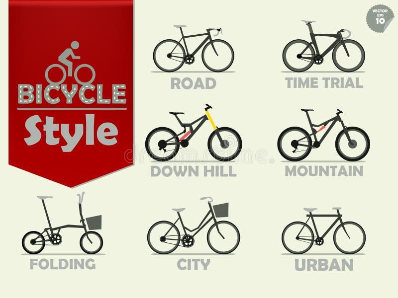 Σύνολο ποδηλάτου που αποτελούνται από το ποδήλατο βουνών ελεύθερη απεικόνιση δικαιώματος