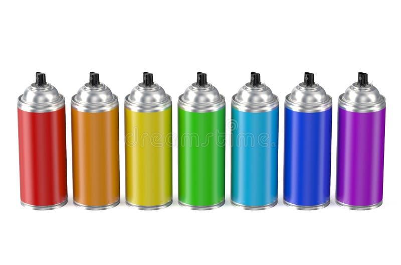 Σύνολο πολύχρωμων δοχείων χρωμάτων ψεκασμού ελεύθερη απεικόνιση δικαιώματος