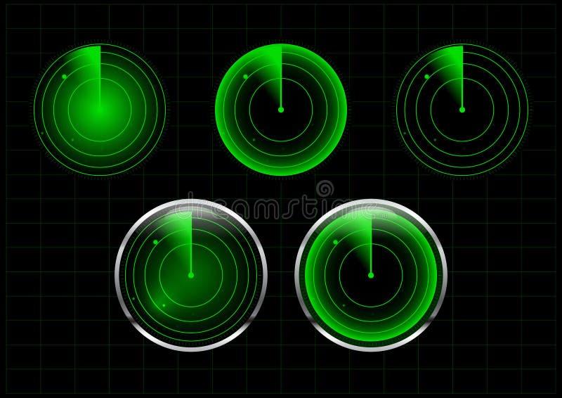 Σύνολο πράσινης διανυσματικής απεικόνισης ραντάρ απεικόνιση αποθεμάτων
