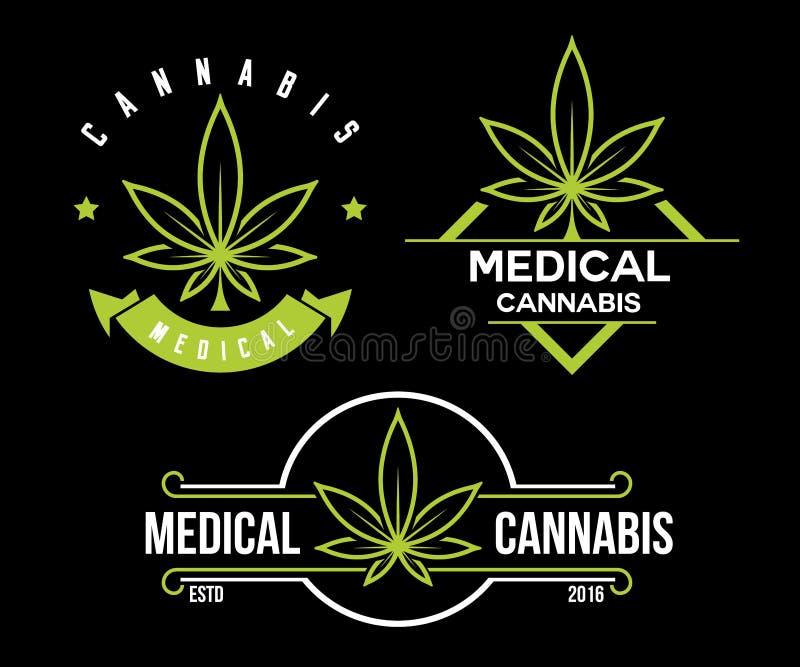Σύνολο πράσινου ιατρικού εμβλήματος καννάβεων, λογότυπο κλασικές εκλεκτής ποιότητας ετικέτες στο μαύρο υπόβαθρο ελεύθερη απεικόνιση δικαιώματος
