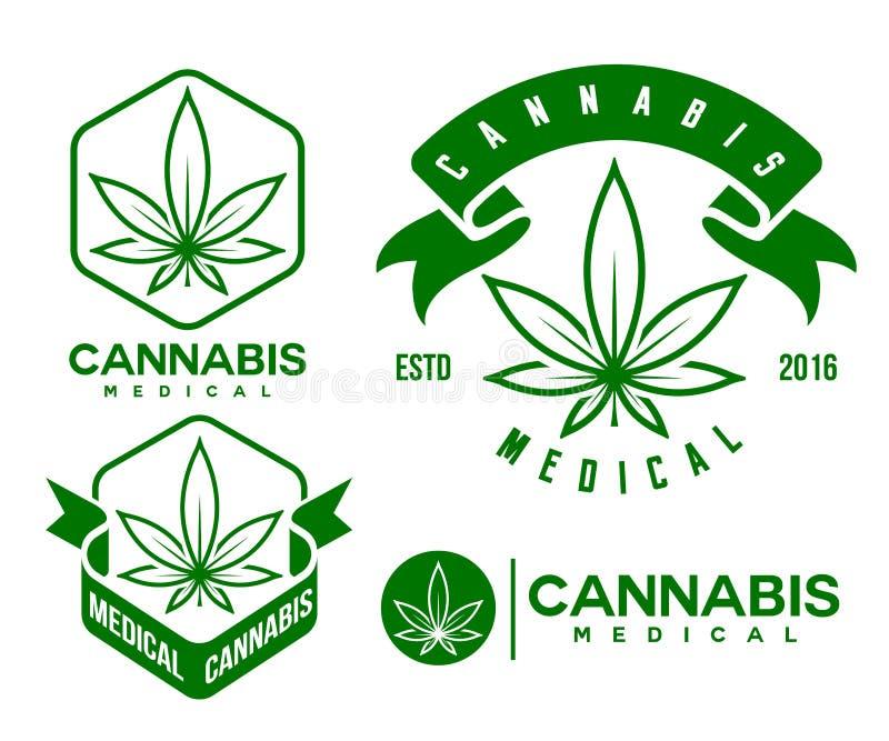 Σύνολο πράσινου ιατρικού εμβλήματος καννάβεων, λογότυπο κλασικό vintege απεικόνιση αποθεμάτων