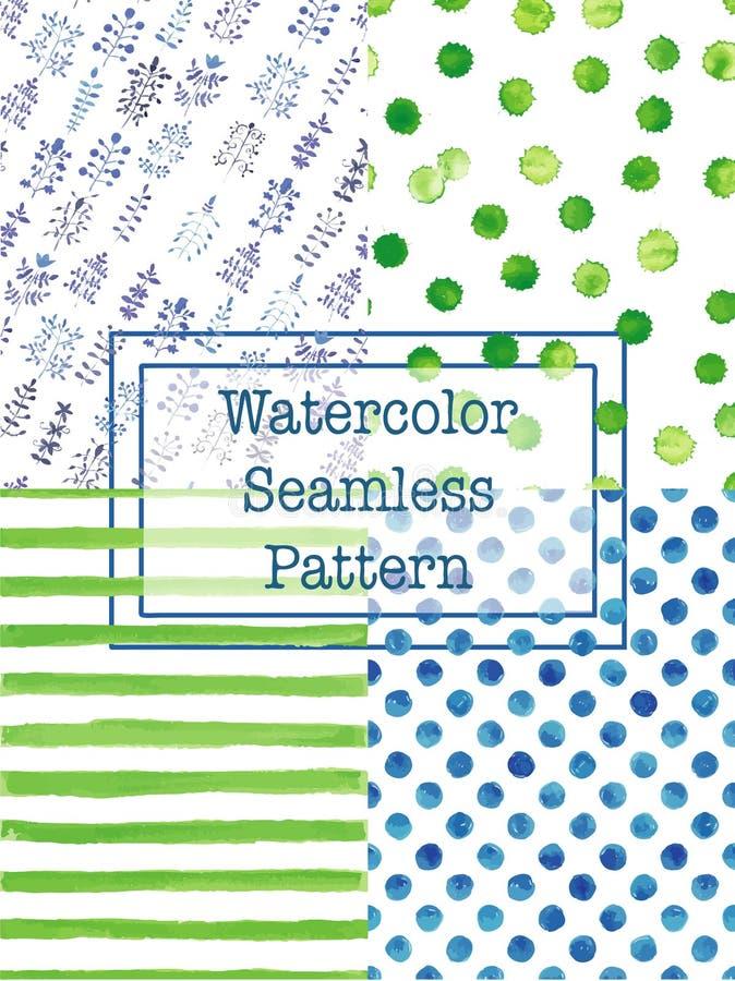 Σύνολο πράσινου και μπλε χρώματος σχεδίων watercolor άνευ ραφής απεικόνιση αποθεμάτων