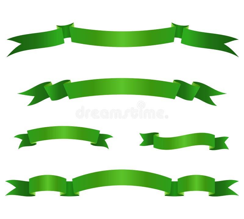 Σύνολο πράσινων εμβλημάτων κορδελλών Στοιχεία κυλίνδρων επίσης corel σύρετε το διάνυσμα απεικόνισης διανυσματική απεικόνιση