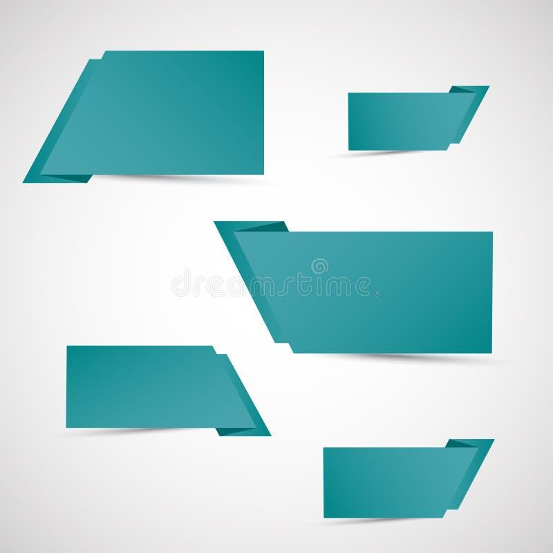 Σύνολο πράσινων εμβλημάτων origami ελεύθερη απεικόνιση δικαιώματος