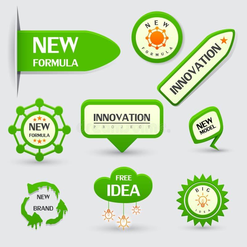 Σύνολο πράσινων νέων ετικετών τύπου διανυσματική απεικόνιση