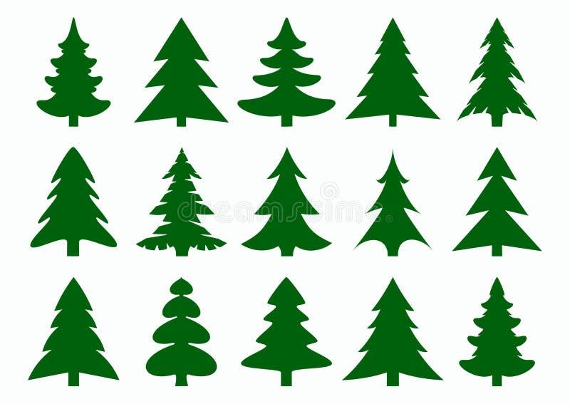 Σύνολο πράσινων fir-tree και πεύκων σκιαγραφιών που απομονώνονται στο άσπρο υπόβαθρο Νέο έτος, σύγχρονα εικονίδια χριστουγεννιάτι απεικόνιση αποθεμάτων