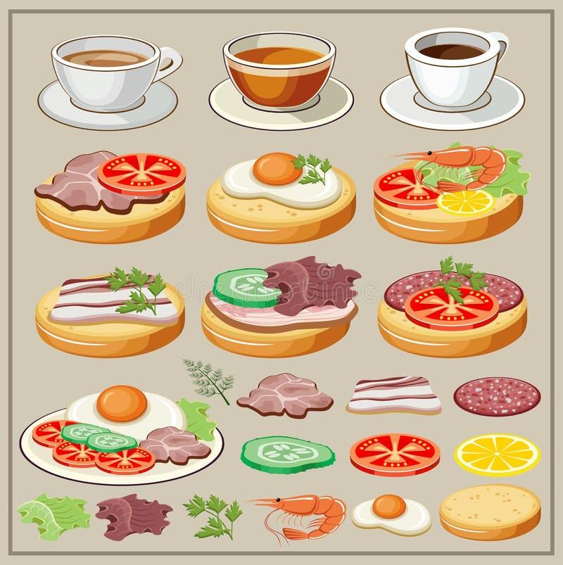 Σύνολο προγευμάτων - τηγανισμένα αυγά, σάντουιτς, τσάι, καφές απεικόνιση αποθεμάτων