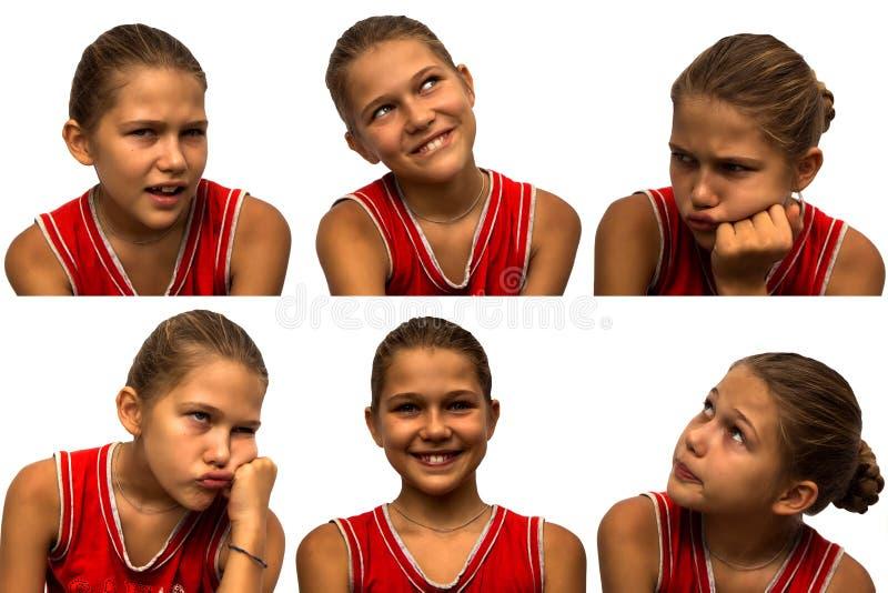 Σύνολο προσώπων με τις διαφορετικές συγκινήσεις κορίτσι στοκ εικόνα