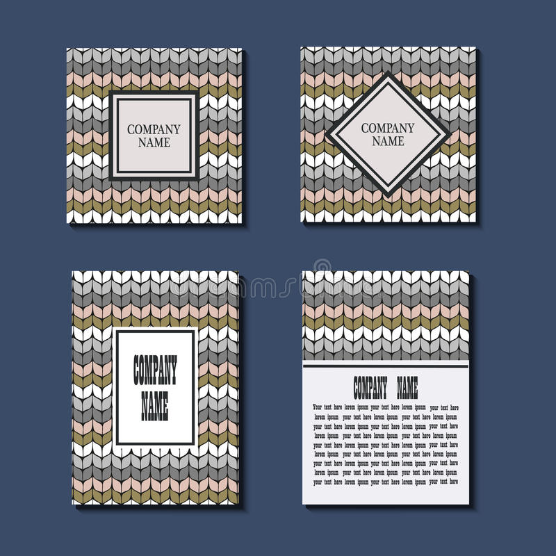 Σύνολο προτύπου ιπτάμενων με το πλέξιμο του σχεδίου Σχέδιο ευχετήριων καρτών Πρώτη σελίδα και πίσω σελίδα ελεύθερη απεικόνιση δικαιώματος