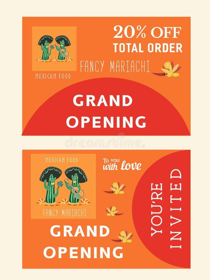 Σύνολο προτύπων για το μεξικάνικο εστιατόριο απεικόνιση αποθεμάτων