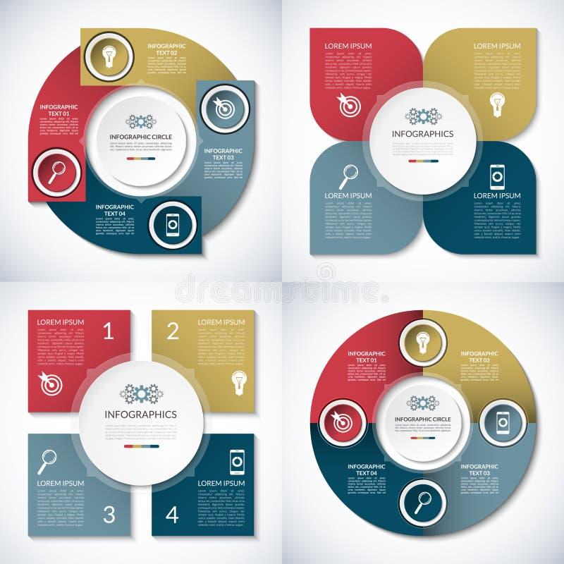 Σύνολο προτύπων επιχειρησιακών infographic κύκλων 4 διανυσματικά εμβλήματα βημάτων απεικόνιση αποθεμάτων