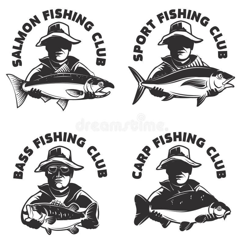 Σύνολο προτύπων ετικετών λεσχών αλιείας Σκιαγραφία ψαράδων με απεικόνιση αποθεμάτων