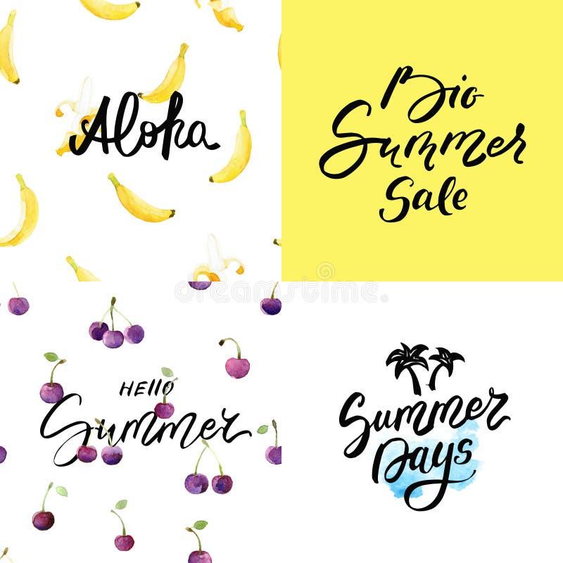 Σύνολο προτύπων θερινών καρτών με συρμένα τα χέρι υπόβαθρα εγγραφής και watercolor - Alona, γειά σου καλοκαίρι, θερινές ημέρες κα ελεύθερη απεικόνιση δικαιώματος