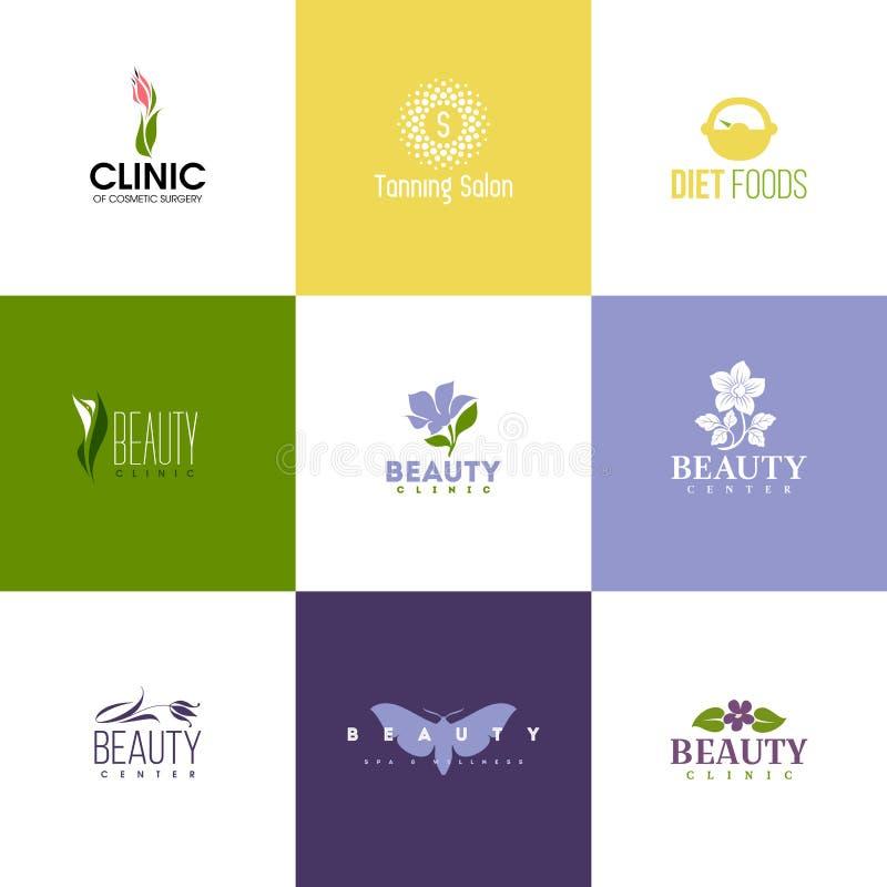 Σύνολο προτύπων λογότυπων ομορφιάς Εικονίδια των λουλουδιών και των φύλλων ελεύθερη απεικόνιση δικαιώματος