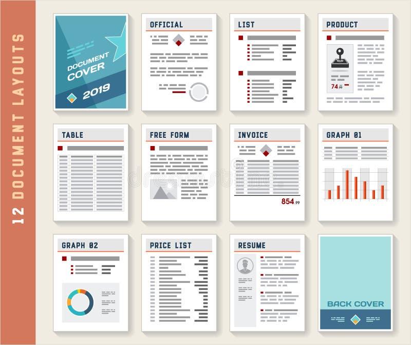 Σύνολο προτύπων προτύπων σχεδιαγράμματος εκθέσεων εγγράφων απεικόνιση αποθεμάτων