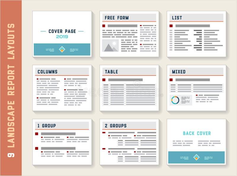 Σύνολο προτύπων προτύπων σχεδιαγράμματος λευκωμάτων τοπίων εκθέσεων εγγράφων ελεύθερη απεικόνιση δικαιώματος