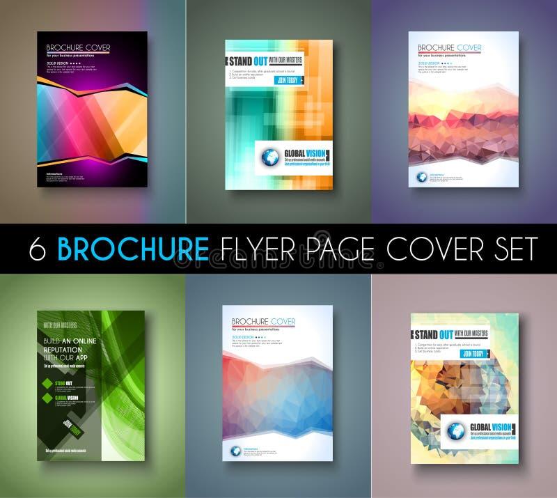 Σύνολο 6 προτύπων φυλλάδιων, σχέδια ιπτάμενων ή καλύψεις Depliant για την επιχείρηση απεικόνιση αποθεμάτων