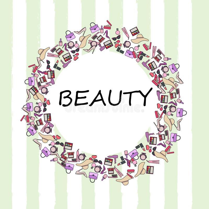 Σύνολο προϊόντων makeup, θηλυκά εξαρτήματα ομορφιάς διανυσματική απεικόνιση