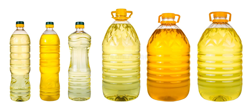 Σύνολο πρόσθετων παρθένων βάζων ελαιολάδου και ελαίου ηλιόσπορων σε ένα wh στοκ εικόνες