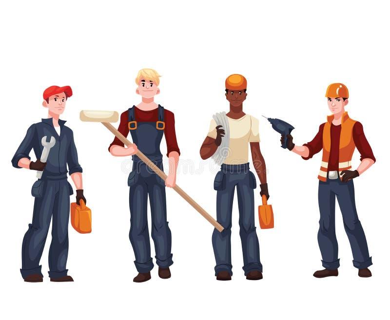 Σύνολο πλήρων εργαζομένων μήκους - ηλεκτρολόγος, μηχανικός, ζωγράφος, επισκευαστής διανυσματική απεικόνιση