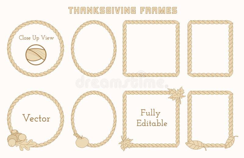Σύνολο πλαισίων ημέρας των ευχαριστιών με συρμένα τα χέρι στοιχεία ελεύθερη απεικόνιση δικαιώματος
