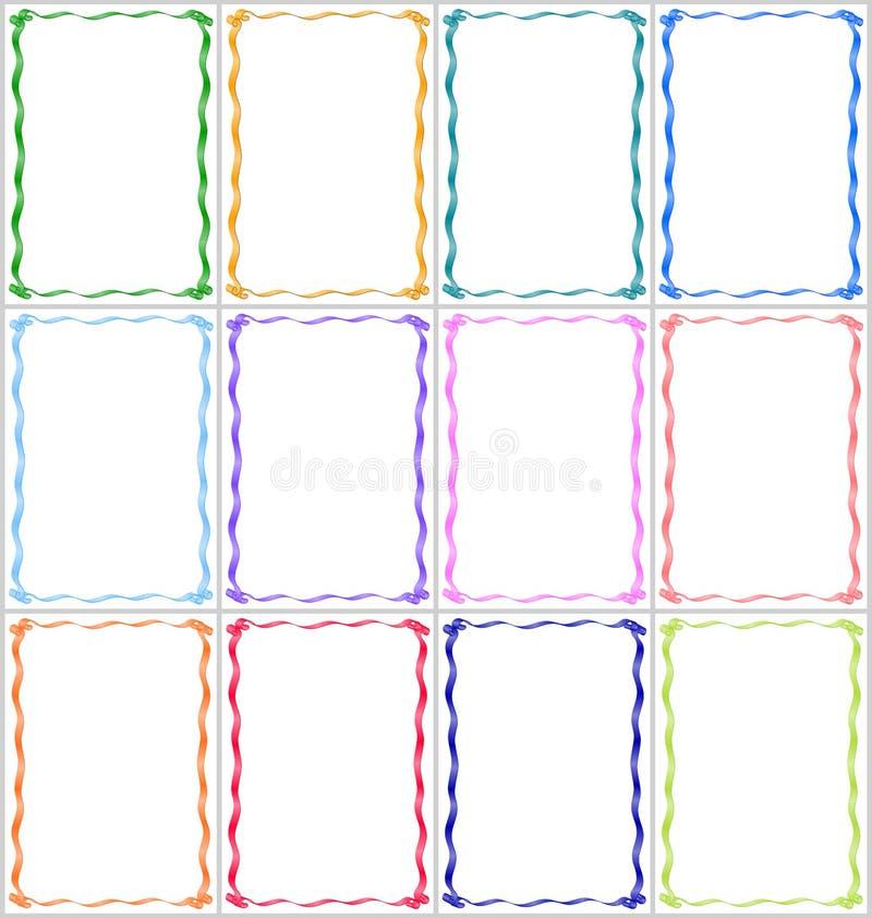 Σύνολο πλαισίων και συνόρων με τις πολύχρωμες κορδέλλες στοκ φωτογραφίες με δικαίωμα ελεύθερης χρήσης