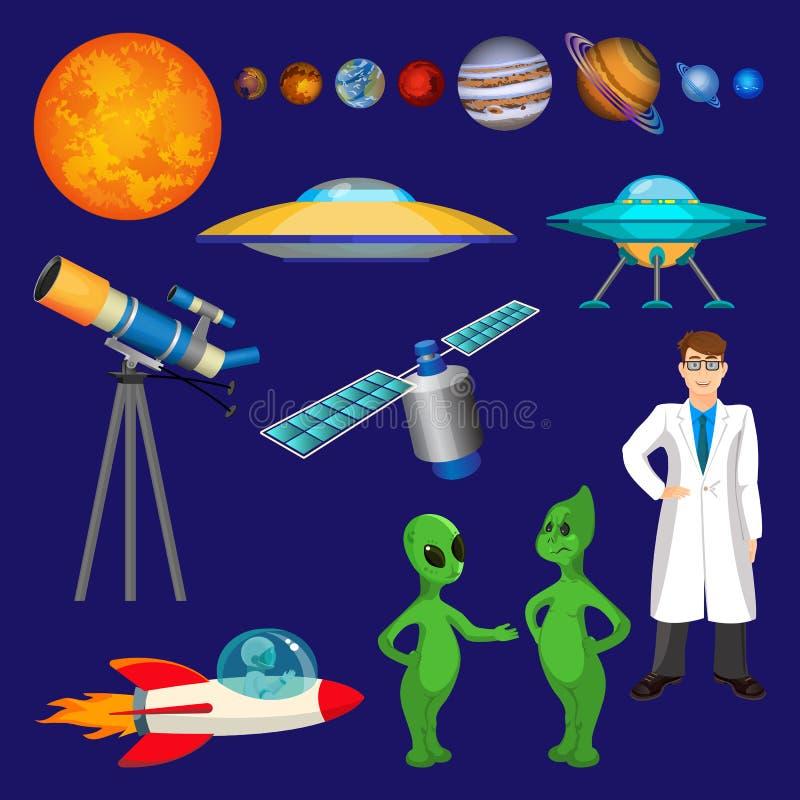 Σύνολο πλανητών, επιστήμονας, πετώντας πύραυλος, μιλώντας αλλοδαποί, διάνυσμα τηλεσκοπίων απεικόνιση αποθεμάτων