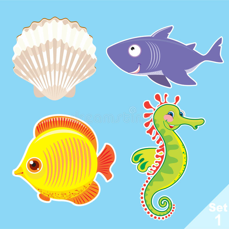Σύνολο πλασμάτων θάλασσας απεικόνιση αποθεμάτων