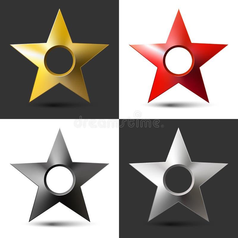 Σύνολο ρεαλιστικού ογκομετρικού αστεριού τεσσάρων εικόνων με την τρύπα και τη σκιά απεικόνιση αποθεμάτων