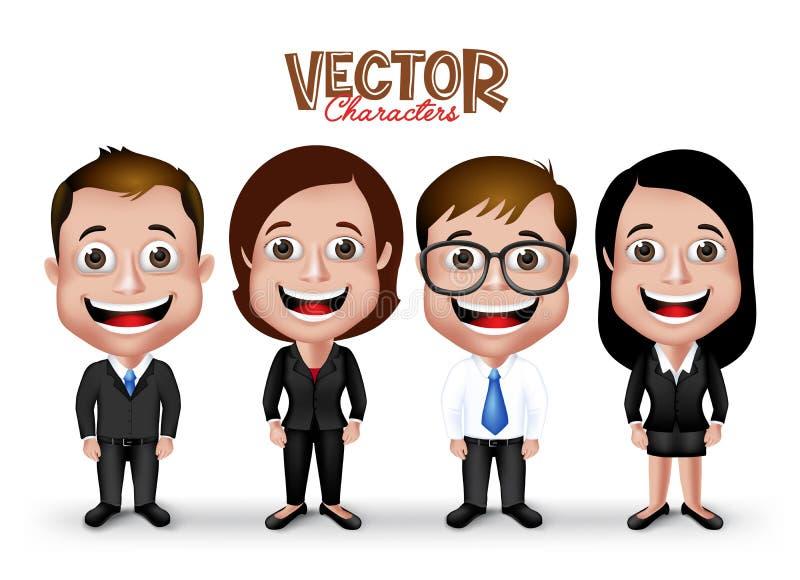 Σύνολο ρεαλιστικού τρισδιάστατου επαγγελματικού ευτυχούς χαμόγελου χαρακτήρων ανδρών και γυναικών διανυσματική απεικόνιση