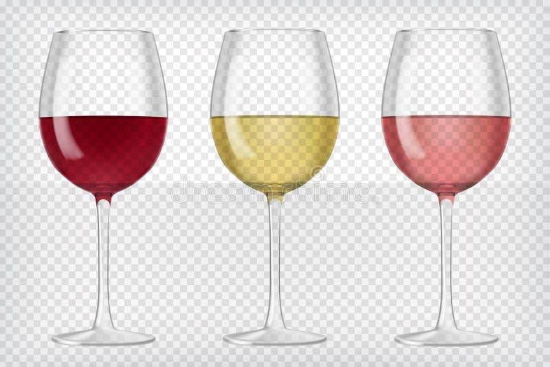 Σύνολο ρεαλιστικών διαφανών γυαλιών κρασιού απεικόνιση αποθεμάτων