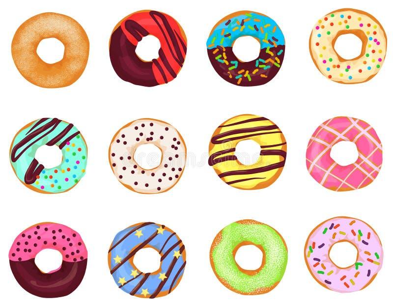 Σύνολο ρεαλιστικών κέικ donuts κινούμενων σχεδίων στο άσπρο υπόβαθρο διανυσματική απεικόνιση