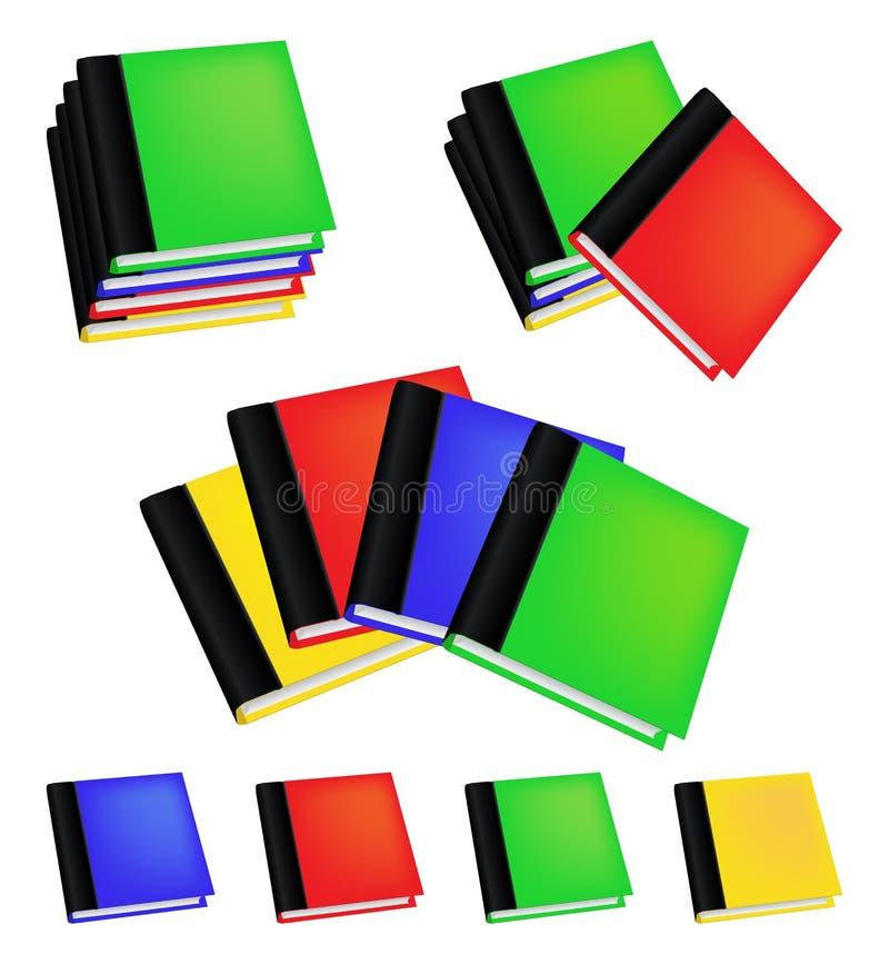 Σύνολο ρεαλιστικών χρωματισμένων βιβλίων με τις κενές καλύψεις διανυσματικό λευκό καρ&chi διανυσματική απεικόνιση