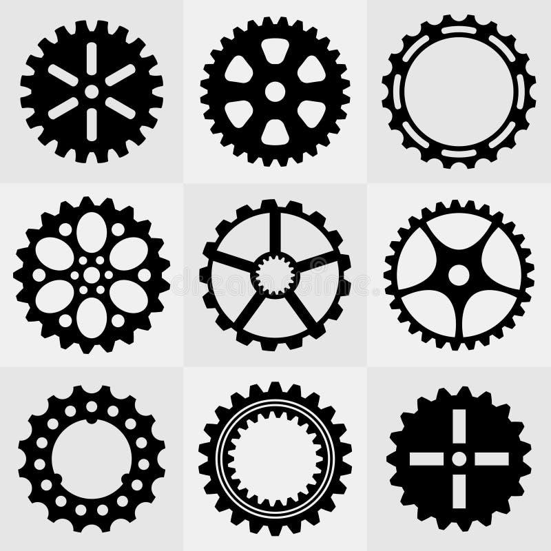Σύνολο ροδών εργαλείων διανυσματική απεικόνιση