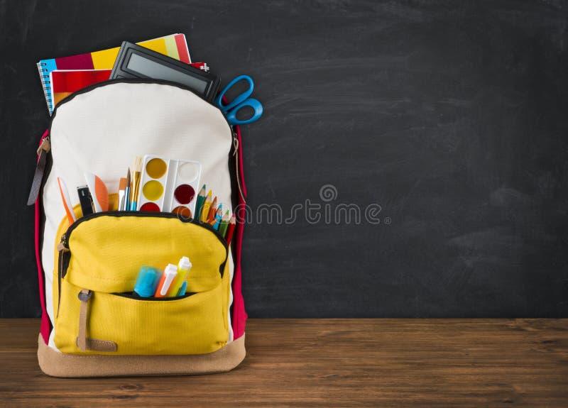 Σύνολο σακιδίων πλάτης των σχολικών προμηθειών πέρα από το μαύρο υπόβαθρο σχολικών πινάκων στοκ φωτογραφία