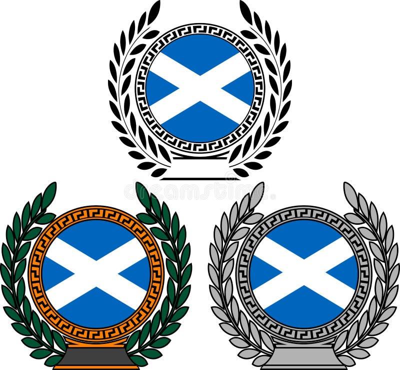 Σύνολο σημαιών της Σκωτίας με το στεφάνι δαφνών διανυσματική απεικόνιση