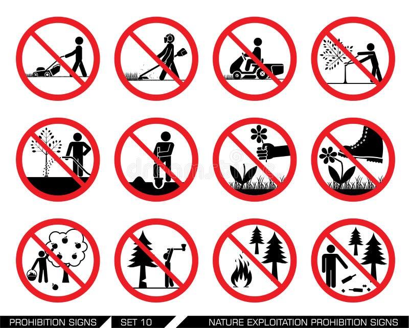 Σύνολο σημαδιών εκμετάλλευσης φύσης και απαγόρευσης καλλιέργειας απεικόνιση αποθεμάτων