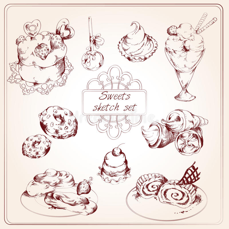 Σύνολο σκίτσων γλυκών ελεύθερη απεικόνιση δικαιώματος