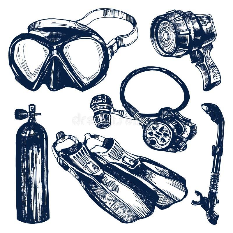 Σύνολο σκίτσων εξοπλισμού κατάδυσης σκαφάνδρων απεικόνιση αποθεμάτων