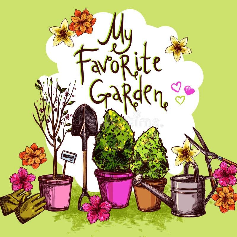 Σύνολο σκίτσων κήπων ελεύθερη απεικόνιση δικαιώματος