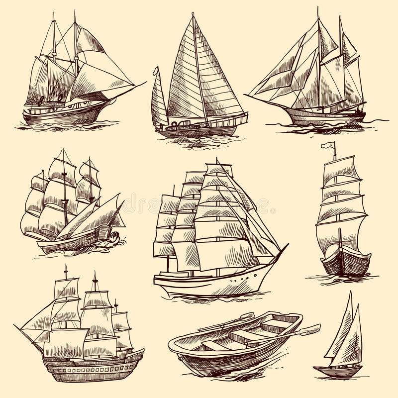 Σύνολο σκίτσων σκαφών και βαρκών απεικόνιση αποθεμάτων