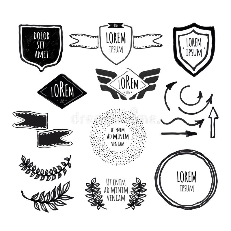 Σύνολο σκιαγραφημένων αναδρομικών εκλεκτής ποιότητας διακριτικών προτύπων ελεύθερη απεικόνιση δικαιώματος