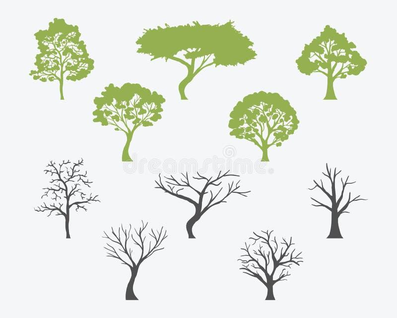 Σύνολο σκιαγραφιών δέντρων με τα φύλλα και γυμνός διάνυσμα απεικόνιση αποθεμάτων