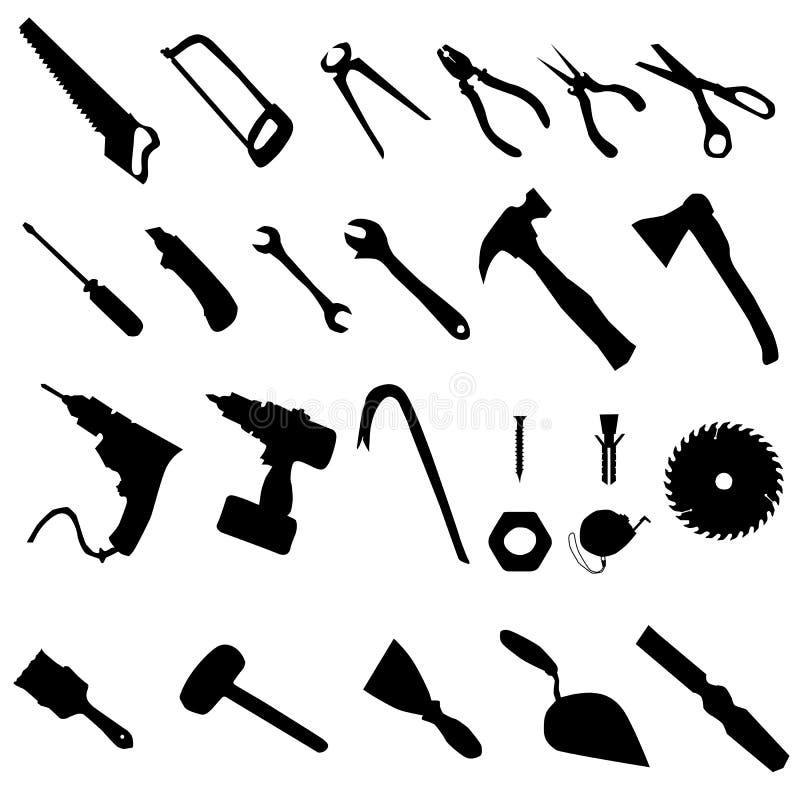 Σύνολο σκιαγραφιών εργαλείων απεικόνιση αποθεμάτων