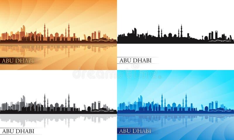 Σύνολο σκιαγραφιών οριζόντων πόλεων του Αμπού Ντάμπι διανυσματική απεικόνιση
