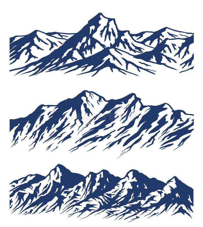Σύνολο σκιαγραφιών σειράς βουνών διανυσματική απεικόνιση